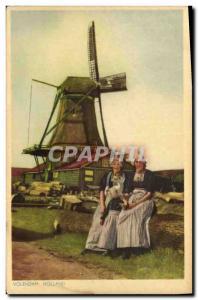 Old Postcard Volendam Holland Windmill