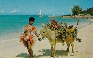 Native Woman With Donkey Named Charlie, JAMAICA, 1940-1960s
