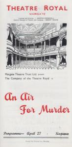 An Air For Murder Falkland Cary Rare Theatre Royal Margate Kent Programme