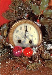 Bonne Annee, Snowy Clock Tree Pine Branch Mistletoe Globes