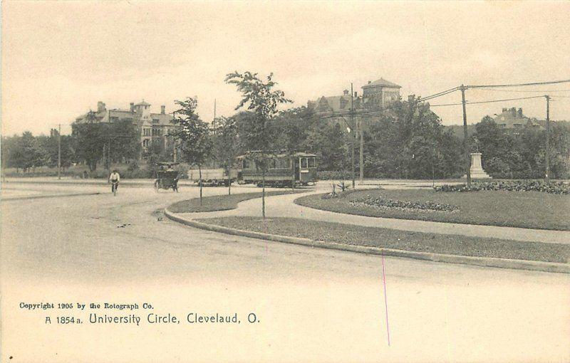 C-1910 University Circle Trolley Cleveland Ohio Rotograph postcard 1097