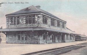 Union Train Depot, Railroad Tracks, North Bay, Ontario, Canada, PU-1908