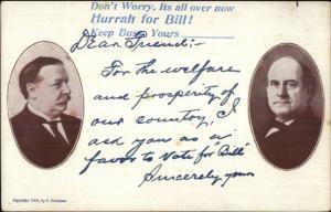 William Taft & Jennings Bryan HURRAH FOR BILL! Satire? 1908 Presidential gfz