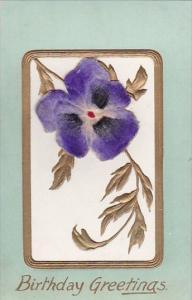 Birthday Greetings Purple Flower Embroidered