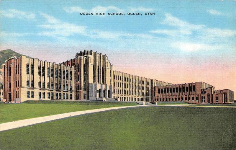 ogden ut utah ogden high school c1940 s linen postcard hippostcard