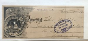 1886 ART RECEIPT - TULARE CALIFORNIA CA - J GOLDMAN GENERAL STORE
