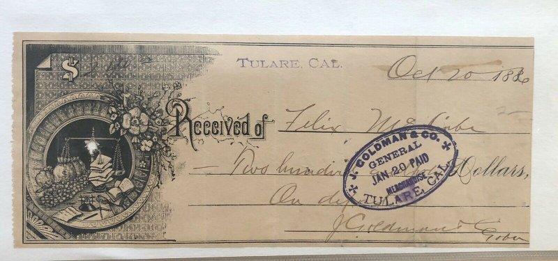 1886 ART RECEIPT - TULARE CALIFORNIA CA - J GOLDMAN GENERAL STORE