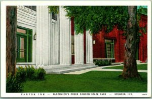 1930s SPENCER Indiana Postcard Canyon Inn, McCormick's Creek Canyon State Park