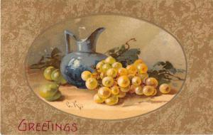 Greetings Grapes with Pitcher Still Life Signed Klein Winsch Postcard J52279