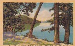 Michigan Greetings From Paw Paw Lake Watervliet Dexter Press