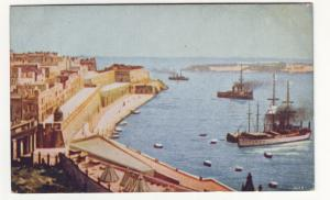 P421 JL old view postcard the mediterranean port with ships