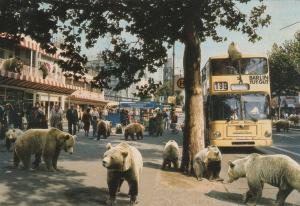 BERLIN , Germany, 1980s; Kurfurstendamm, Brown Bear Statues