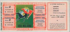 66140  - Vecchio  BIGLIETTO  LOTTERIA:  Lotteria Ippica di MERANO 1957 - RARO!!