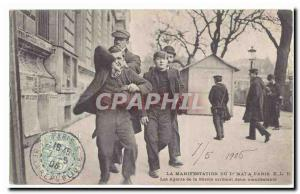 Paris Old Postcard The demonstration on May 1, Paris officers tart ADOPT two ...