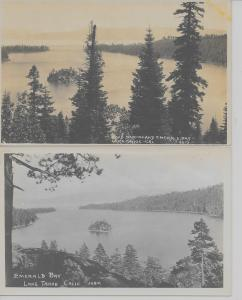 Pair of Lake Tahoe California views of Emerald Bay real photo pc (Z9329)