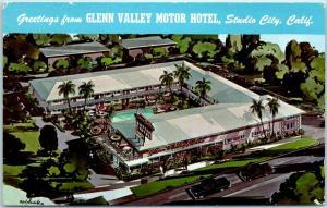 Studio City, California Postcard Greetings from GLENN VALLEY MOTOR HOTEL 1960s