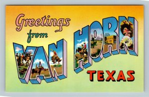 Van Horn TX, LARGE LETTER Greetings, Chrome Texas Postcard
