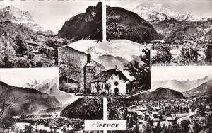 France Servoz La Ville et le Mont Blanc Vue generale Photo