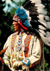 North American Indian In Traditional Head Dress