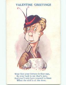 Unused Bamforth valentine WOMAN WITH HAT AND MUFF HAND WARMER J3833