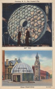 CORNING, New York, 1930-1940s; The Crystal City, 200 Disc, Glass Observatory