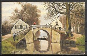 1912 Netherlands canal, bridge scene, mailed to USA