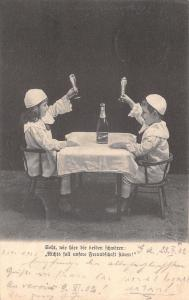 Children Clowns Toast Foaming Glasses From Little Table~Talk Like Beer~1902
