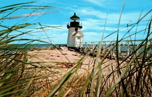 Massachusetts Nantucket Lighthouse With Beach Grass At Brant Point