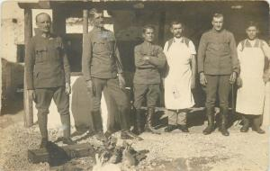 WORLD WAR ONE Real photo postcard military chefs soldiers uniforms rabbits