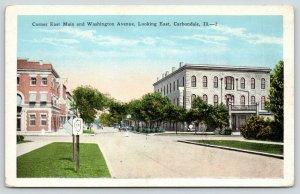 Carbondale Illinois~Corner East Main Street & Washington Avenue East~Bank~1920s