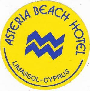 CYPRUS LIMASSOL ASTERIA BEACH HOTEL VINTAGE LUGGAGE LABEL