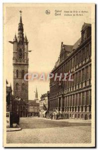 Postcard Old Gent Ghent Hotel De Ville and Belfry