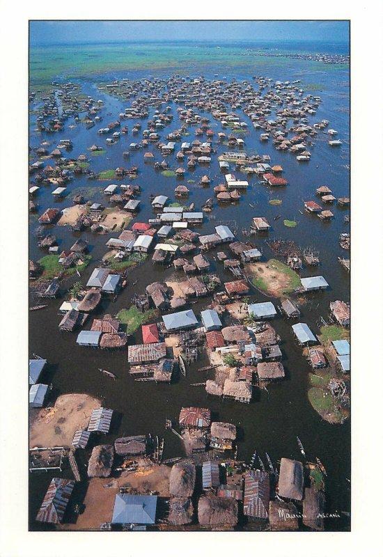 Postcard Benin Republic Ganvie lakeside village aerial aspect