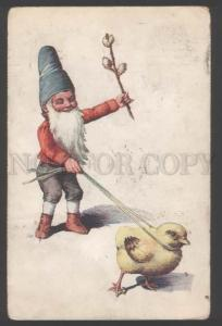 111466 Funny GNOME w/ Chicken UnSign FEIERTAG vintage EASTER