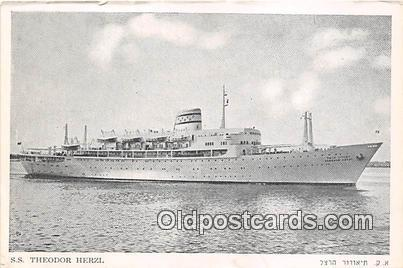 SS Theodor Herzl Zim Israel Navigation Co LTD Ship Postcard Post Card Zim Isr...