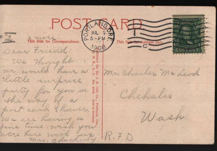 Portland OR Chehalis WA Charles McLeod Sentinel Rock Columbia River Postcard B06