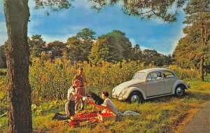 White Volkswagen Family Picnic and Dog Advertising Postcard