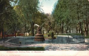 Ft. Madison, Iowa, IA, Artesian Lake, Central Park, 1908 Vintage Postcard g845