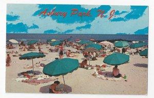 Asbury Park NJ Beach Umbrellas Bathers Blankets Ocean Vntg American Postcard Co