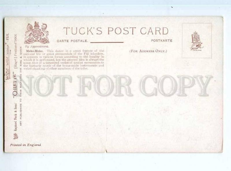 247240 FIJI Meke-Meke national dance Vintage TUCK postcard