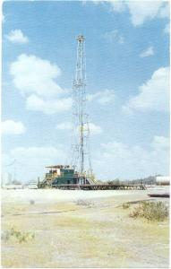 A Black Gold Drilling for Oil in Great State of Texas, TX, 1960 Chrome