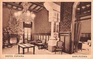 Spain Old Vintage Antique Post Card Hotel Espana Barcelona Unused