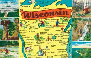 USA Wisconsin Map postcard 01.89