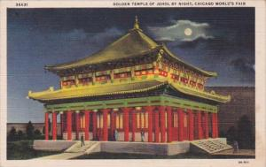 Chicago World's Fair 1933 Golden Temple Of Jehol By Night Curteich