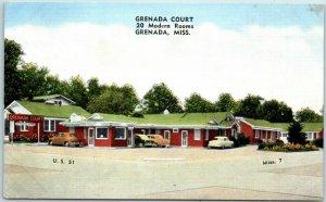 Grenada, Mississippi Postcard GRENADA COURT Highway 51 Roadside KROPP Linen
