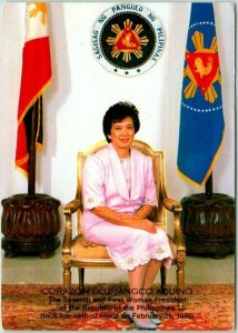 Postally-Used MANILA Philippines Postcard Corazon Cojuangco Aquino 1988 Cancel