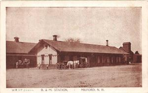E14/ Milford New Hampshire Postcard c1910 B&M Railroad Depot Station 21