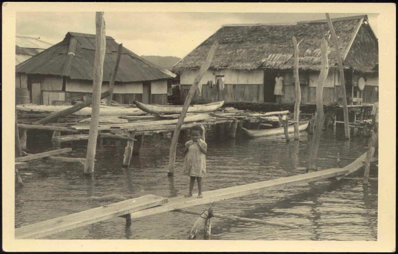 Dutch New Guinea, Native PAPUA Girl, Stilt Houses (1940s) RPPC