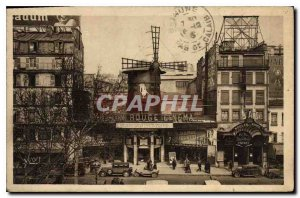 Postcard Old Paris strolling Bal Cinema and the Moulin Rouge