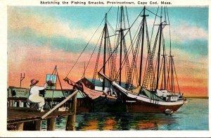 Massachusetts Cape Cod Provincetown Artist Sketching The Fishing Smacks